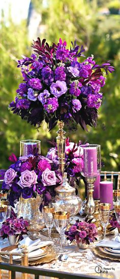 7 Exceptional Purple Color Combos to Rock for purple wedding centerpieces with flowers, gold and purple wedding table settings Purple Wedding Centerpieces, Wedding Table Flowers, Wedding Table Settings, Floral Centerpieces, Wedding Colors, Floral Arrangements, Wedding Bouquets, Wedding Decorations, Centerpiece Ideas