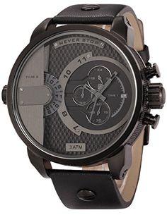 Shark Herren Armbanduhr Quarzuhr mit Schwarze Armband aus Leder Datumanzeige SH157 - http://uhr.haus/shark-2/shark-herren-armbanduhr-quarzuhr-mit-schwarze