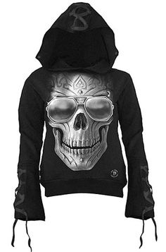Spiral Hellfire Lace-Up Glitter Women's Hoody