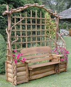 Log & branch bench with built-in planters.
