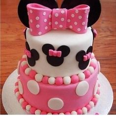 minnie mouse cake for A's first birthday Minni Mouse Cake, Minnie Mouse Birthday Cakes, Minnie Cake, 1st Birthday Cakes, Birthday Ideas, Mickey Birthday, Pink Minnie, Birthday Favors, Decors Pate A Sucre