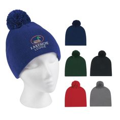 Embroidered Knit Pom Beanie $4.99/ea