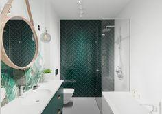 Naboo Studio – Tonalite In questa casa privata di Varsavia, Naboo Studio per caratterizzare il bagno ha utilizzato la collezione Joyful40 nel colore Avocado e nel formato 10x40.