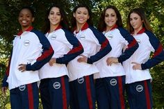 The 2012 USA Gymnastics womens Olympic team poses for a photo together.  From L to R: Gabby Douglas, Aly Raisman, Kyla Ross, Jordyn Wieber and McKayla Maroney.