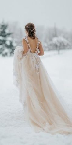 24 Winter Wedding Dresses & Outfits winter wedding dresses outfits a line v back blush ana gregoric Elope Wedding, Luxury Wedding, Dream Wedding, Wedding Bride, Easy Wedding Guest Hairstyles, Bridal Squad, Winter Dress Outfits, Winter Wonderland Wedding, Sweetheart Wedding Dress