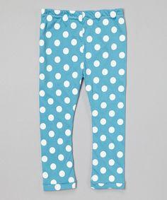 Love this  Little V Men Blue & White Polka Dot Leggings - Infant, Toddler & Girls by  Little V Men on #zulily! #zulilyfinds