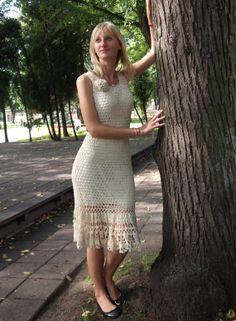 White Roses Crochet Dress - Made to Order
