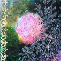 Indian Rose - small size - deep edges canvas - 20X20 cm, Mixed Media painting by Fabienne Monestier
