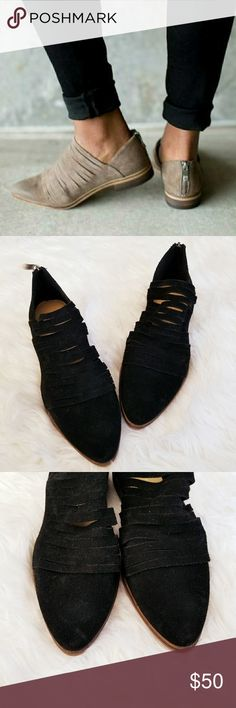 """NEW Chinese Laundry Danika Suede Ankle Booties NEW, never worn. No flaws. Black color suede. Pointy toe. Shredded vamp. Zippered in the back. True to size. 1"""" low heel. Super cute for spring. Chinese Laundry Shoes"""