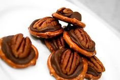 Rolo Turtles       1 12 oz. bag of Rolos    1 10 oz. bag of pretzels    About 50 pecan halves      Preheat oven to 220 degrees.      Line a cookie sheet with parchment paper.  Lay pretzels out on the cookie sheet and place a single, unwrapped Rolo on the top of each pretzel.      Bake for three minutes and immediately press pecan on top of the Rolo. Allow to chill in the fridge until set.