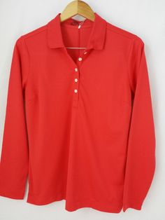 Nike Golf Tour Performance Long Sleeve Polo Red Large FREE SHIPPING