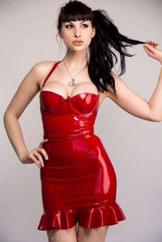 Bailey modeling one of @EtiquetteLatex's sexy latex creations.