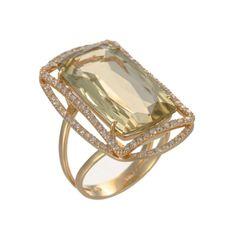 Vianna Brasil 18K Yellow Gold, Olive Quartz & Diamond Ring (=)