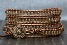 wrap bracelet  champagne crystals on bronze by CorvusDesign