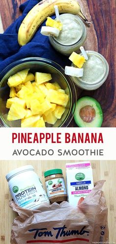 #ad Need an easy breakfast, lunch, or snack? Fix this bright & refreshing smoothie in only 5 minutes. It features simple ingredients like pineapple, banana, avocado & almond butter that are yummy & budget-friendly. And it has naturally sweet tropical fruit, protein & healthy fats so you'll feel satisfied & nourished. Grab all the #OOrganics & #OpenNature ingredients you need to make this at  #TomThumb so you can enjoy a tropical smoothie today! (gluten-free, grain-free & dairy-free) Real Food Recipes, Beef Recipes, Vegetarian Recipes, Cooking Recipes, Healthy Recipes, Family Recipes, Easy Recipes, Avocado Smoothie, Grain Free
