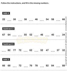Number Sequence Worksheet 19 - math Worksheets - grade-1 Worksheets