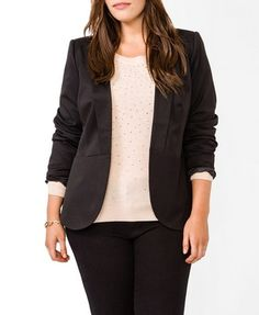 Forever 21 Plus Size Pleated Lapel Jacket. Yes, Forever 21 has plus sizes!!!