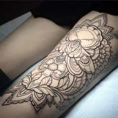 Laura Jade - Ornamental moth tattoo on thigh