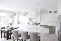 White and grey kitchen. White kitchen with Ikea cabinets and grey wall paint color. Grey wall paint color is Sherwin Williams Agreeable Grey. Trim paint color is Benjamin Moore Swiss Coffee #SherwinWilliamsAgreeableGrey #BenjaminMooreSwissCoffee Interiors by Alita Malinowski. Instagram @life_with_alita