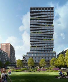 MVRDV, Studio Gang and Henning Larsen unveil towers for San Francisco's Mission Rock development Henning Larsen, Architecture Portfolio, Landscape Architecture, Architecture Diagrams, Concept Architecture, Masterplan, Mission Bay, Tower Design, Sky Garden