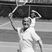 Jack Warner on his tennis courts at home Hollywood Homes, Old Hollywood, Warner Brothers, Warner Bros, Jack Warner, Desert Resort, Old Celebrities, Movie Theater, Palm Springs