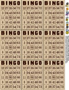 Bingo Cards, Mom loved to play Bingo on Friday nights. She would play 50 cards and also watch my 30 cards. Paper Journal, Journal Cards, Junk Journal, Artist Trading Cards, Vintage Ephemera, Printable Paper, Smash Book, Free Printables, Free Printable Bingo Cards