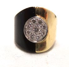 Abstract 14k gold and onyx wide ring, $645