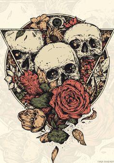 Immerse by timur khabirov, via behance dark tattoo, tatoo, crane, skull artwork Skull Tattoos, Body Art Tattoos, Tattoo Drawings, Art Drawings, Art Du Croquis, Brust Tattoo, Art Mur, Skull Illustration, Geniale Tattoos