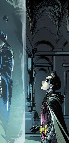 Damian does in fact look up to Nightwing - Nightwing / Dick Grayson & Robin / Damian Wayne Nightwing, Batwoman, Batgirl, Son Of Batman, Batman Family, Batman Robin, Damian Wayne, Dc Comics, Batman Comics