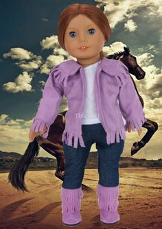 """Lavender Western Cowboy Set with Boots made for 18"""" American Girl Doll Clothes #DorisDollBotuique #DollClothes"""