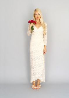 Marrakech: Vintage lace bohemian hippie wedding wrap gown with long sleeves...