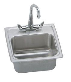 "Elkay BLR150C Gourmet Lustertone Stainless Steel 15"" Single Basin Top Mount Bar Stainless Steel Fixture Bar Sink Combination"