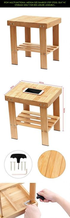 IPOW Multfunctional Medium Size Bamboo Step Stool Seat w/ Storage Shelf For Kids Leisure Assembly Needed,Durable,Anti-Slip,Lightweight for bathroom,living room,bedroom,garden etc,Bonus Foot Pads #patio #parts #varnish #tech #kit #plans #furniture #fpv #gadgets #products #shopping #racing #technology #drone #camera