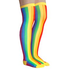 Fun and funky thigh high stocking with a vertical rainbow pattern. Chrissy's Socks Thigh High Socks, Knee Socks, Thigh Highs, Rainbow Socks, Rainbow Outfit, 90s Party Outfit, Candy Theme, Cosplay Outfits, Tight Leggings