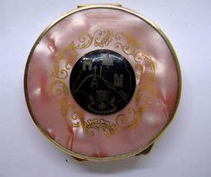 Art Deco Pink Pearlized Celluloid Paris Map souvenir compact 1930's