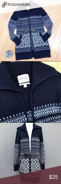 """TELLURIDE sweater duster, S. Amazing wool cardigan sweater by Telluride Clothing Company, size small. Lambs wool blend with the single waist clasp, front pockets. Gorgeous navy Nordic design with a turnover collar. Length is 34"""". Great condition! Telluride Clothing Co Sweaters Cardigans"""