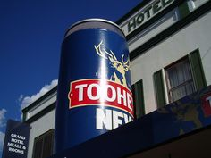 The Big Beer Can - Cobar The Big Beer Can has a Tooheys New design, and is located above the entrance to the Grand Hotel.