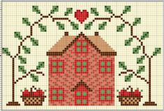 #1 of 2 Free xstitch. Apple tree cottage.  http://gazette94.blogspot.com.au/2008/09/apple-cottage.html
