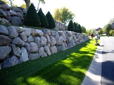 Boulder Retaining Wall modern landscape – Famous Last Words Landscaping With Boulders, Landscaping Retaining Walls, Hillside Landscaping, Modern Landscaping, Outdoor Landscaping, Front Yard Landscaping, Outdoor Gardens, Landscaping Ideas, Boulder Retaining Wall