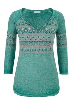 burnout tee with ethnic graphic and raw edges (original price, $29) available at #Maurices