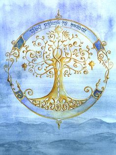Elven Tree done by Maffet, from Wet Canvas Art Community. Very pretty idea for a tattoo. Love the gold and blue.