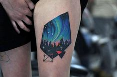 Modern Northern Lights Thigh Tattoos For Guys With Black Ink Forest