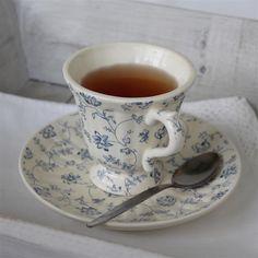 Set of 4 Blue Dainty Tea Cup & Saucers Tea Cup Saucer, Tea Cups, Cupping Set, Ceramic Painting, Vintage Ceramic, Concept, China, Ceramics, Dining