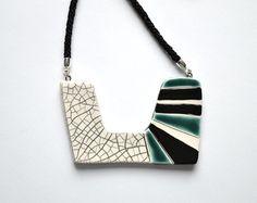 Ceramic pendant necklace statement jewelry peach by islaclay