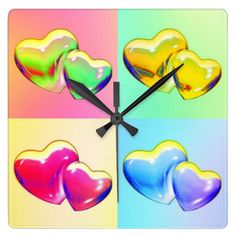 Two Hearts in a Square Clock