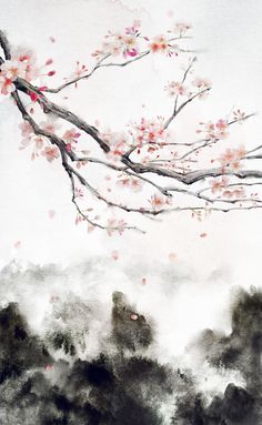"〔 古风素材 〕—— 插画师""鱼俞木"" 作品 Chinese Drawings, Art Drawings, Chinese Painting, Chinese Art, Of Wallpaper, Wallpaper Backgrounds, Art Asiatique, Landscape Art, Japanese Art"