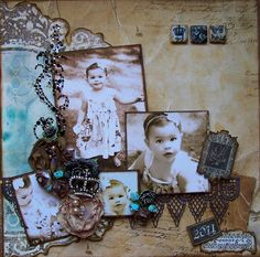 Grammy's Girl ~ Stunning vintage style child's page with crystal flourishes and lace border - a great look for modern photos in your heritage album...wow!