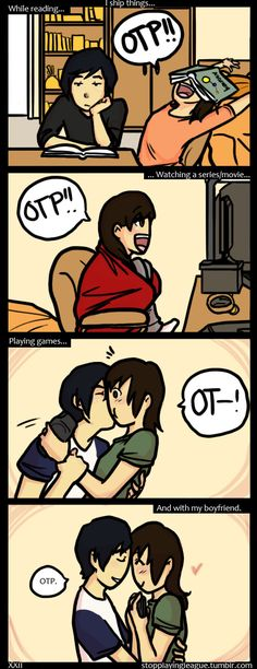 Lol. Adorable comic strip about a fangirl and her boyfriend. :) ~~~ That's how my husband is :)