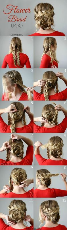 Cute Flower Braid Updo for Long Hair Tutorial – Tutorial Per Capelli Braided Hairstyles For Wedding, Diy Hairstyles, Hairstyle Tutorials, Hairstyle Ideas, Classic Hairstyles, Braided Updo, Romantic Hairstyles, Hair Ideas, Braided Crown