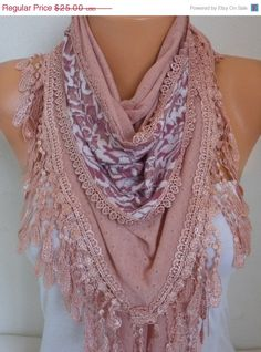 Knitted Scarf Shawl Cowl Lace Bridesmaid Bridal by fatwoman
